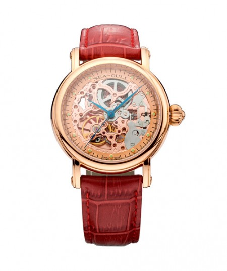 Rose Gold Seagull Skeleton Montre