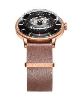 FIYTA 3D TIME ROSE GOLD BROWN WGA868000 PBR WATCH