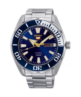 SEIKO 5 SPORT 24 JEWELS SILVER & BLUE